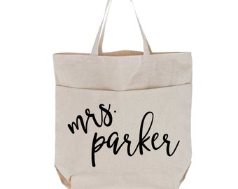 Personalized Last Name Canvas Tote Bag with Pockets | Calligraphy Name | Large Bag | Bride Gift | Custom Natural Utility Tote | Future Mrs