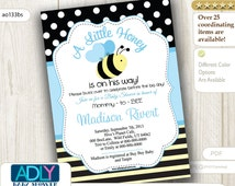 Boy Bee Invitation for Baby Shower, Baby Blue, yellow and black. Polka and stripes, A little honey Babee digital invitation card - ao133bs