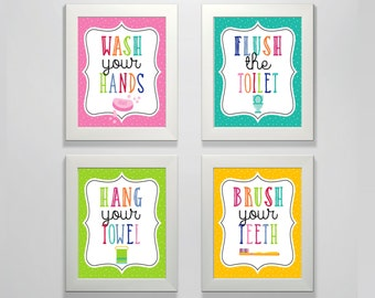 Kids Bathroom Decor Posters - PRINTED