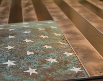 Large Metal American flag wall art made from copper, steel and distressed aluminum sculpture