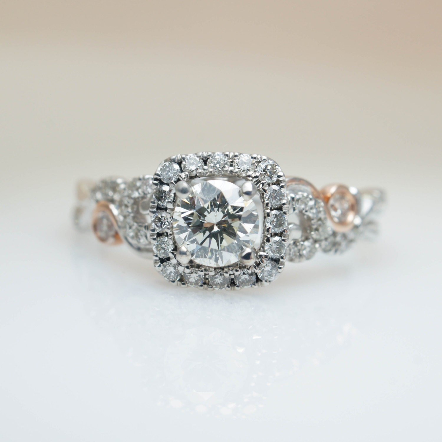 Cushion Halo Round Diamond Intricate Delicate Engagement Ring