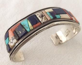 Rare Signed BERT GEORGE Vintage NAVAJO SterlingSilver Mosaic Inlay Cuff Bracelet