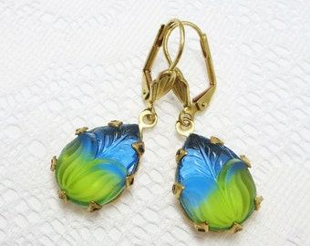 Blue Green Earrings Dangles Crystal Teardrops Rhinestone Earrings Art Deco Victorian