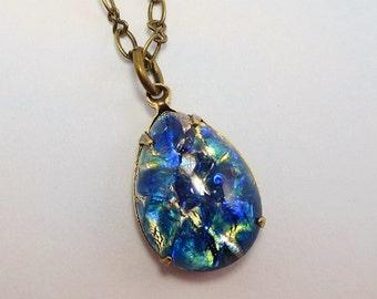 Blue Fire Opal Necklace Pendant Sea Blue Sapphire Blue Opal Necklace