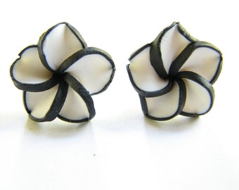 Black and White Stud Earrings // Flower Earrings, Polymer Clay Plumeria Hawaiian Flower Jewelry Womens Beach Vacation Resort Fashion Jewelry