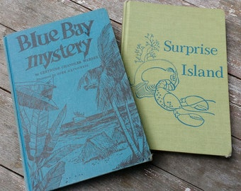 Surprise Island and Blue Bay Mystery by Gertrude Chandler Warner - Boxcar Children vintage hardcover books for children