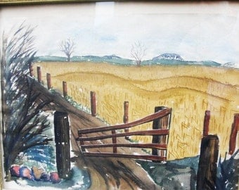 Watercolor of Country Road. Fields and Fence Posts and a Distant Horizon