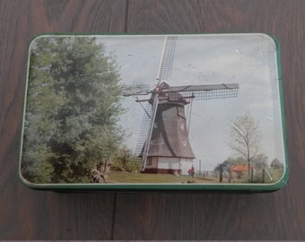 Vintage tin with Dutch pictures, vintage Dutch tin