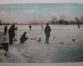 CURLING 1908 Postcard -- Curling in Washington Park Chicago