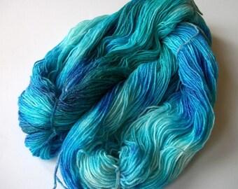 Hand dyed superwash merino/bamboo/nylon sock yarn, lace weight, 450 yds. (420 m)
