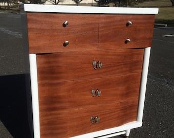 Mid Century Modern White and Mahogany 4 Drawer Dresser