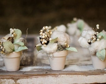 Cotton Bokay , Dried Flowers and Cotton , Tallow Berries and Cotton ,  Rustic Cotton Decor , Cotton Decoration , Wedding Cotton