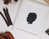 Child Silhouette Custom & Realistic Classic Black and White 8x10 for Nurseries,
