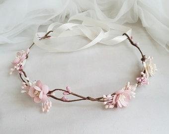 Bridal Flower Crown, Flower Girl Crown, Woodland Headdress, Boho Wedding Headpiece, Bridal Head Wreath, Flower Crown - Boho Wedding