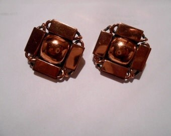 Art Deco Renoir Copper Clip Earrings, c.1960