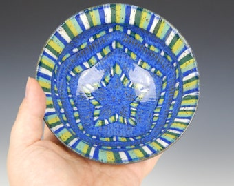 jewelry dish, stripes, ceramic ring dish, small pottery bowl, geometric, ring bowl, sgraffito pottery, star