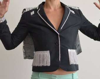 womens black tuxedo jacket / blazer with sequined cape and acrylic jewels - size m