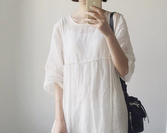 Woman White soft thin linen long dress