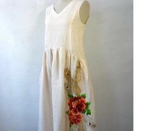 Limited ! Woman linen embroidered rose dress