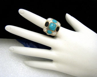 Sterling Silver Turquoise Mother of Pearl Inlay Ring