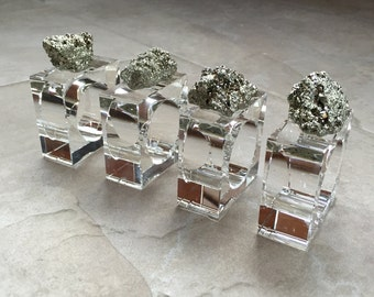 Napkin Rings -Crystal w/ Pyrite - Set of Four