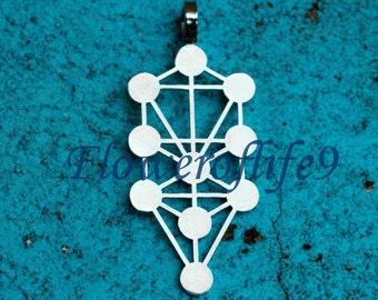 Sephirot (Kaballah Tree of life) - pendant (1 1/2 x 5/8 inch) - Stainless Steel