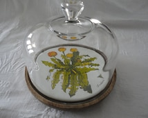 Vintage Goodwood Glass Dome Dandelion Ceramic Tile Wood Cheese Board