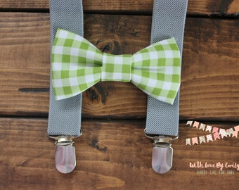 Bowtie & Suspenders- Lime Gingham/Gray