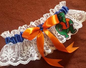 University of Florida Gators UF Inspired White Lace Wedding Garter Belt
