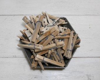 Vintage Wooden Clothespins - Spring Style - Lot of 50
