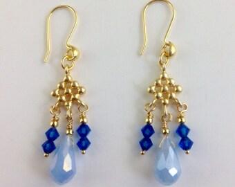 Blue Chalcedony earrings, Boho earrings, Swarovski crystal earrings, blue  earrings, Vermeil gold earrings, gold jewelry - Blue Rain