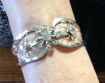 1960s rhinestone cuff bracelet