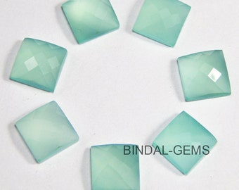 5 Pieces Lot Aqua Chalcedony Square Shape Checker Cut Loose Gemstone