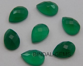 10 Pieces Wholesale Lot Green Onyx Pear Shape Checker Cut Gemstone For Jewelry