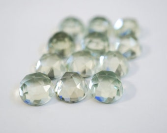 25 Pieces Wholesale Lot Green Amethyst Round Shape Rose Cut Loose Gemstone For Jewelry