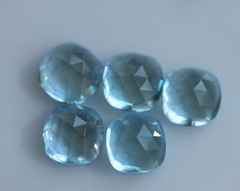 10 Pieces Lot Blue Topaz Cushion Shape Rose Cut Loose Gemstone