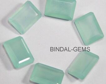 10 Piece Lot Aqua Chalcedony Octagon Faceted Cut Loose Gemstone