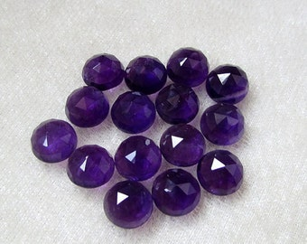 Wholesale Lot 10 Pieces Natural Purple Amethyst Round Rose Cut Gemstone For Jewelry