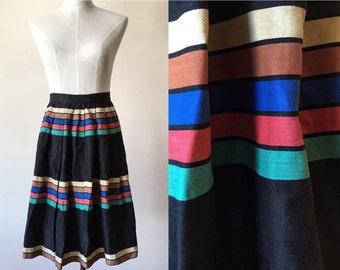 vintage pleated skirt // vintage black midi skirt // vintage stripe skirt //