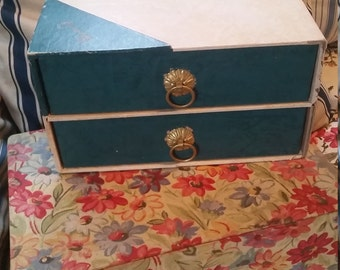 Vintage French Leatherette Jewel Box