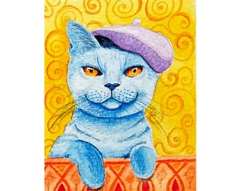 ACEO original watercolour animal - blue cat with purple barret