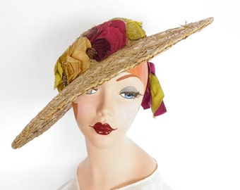 1940s tilt hat, Gage straw with magenta and chartreuse  backband, embossed velvet pansy flowers
