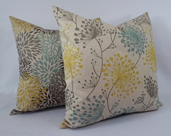 Yellow Blue And Brown Throw Pillows : Brown Yellow and Blue Decorative Pillow Covers Two Dandelion