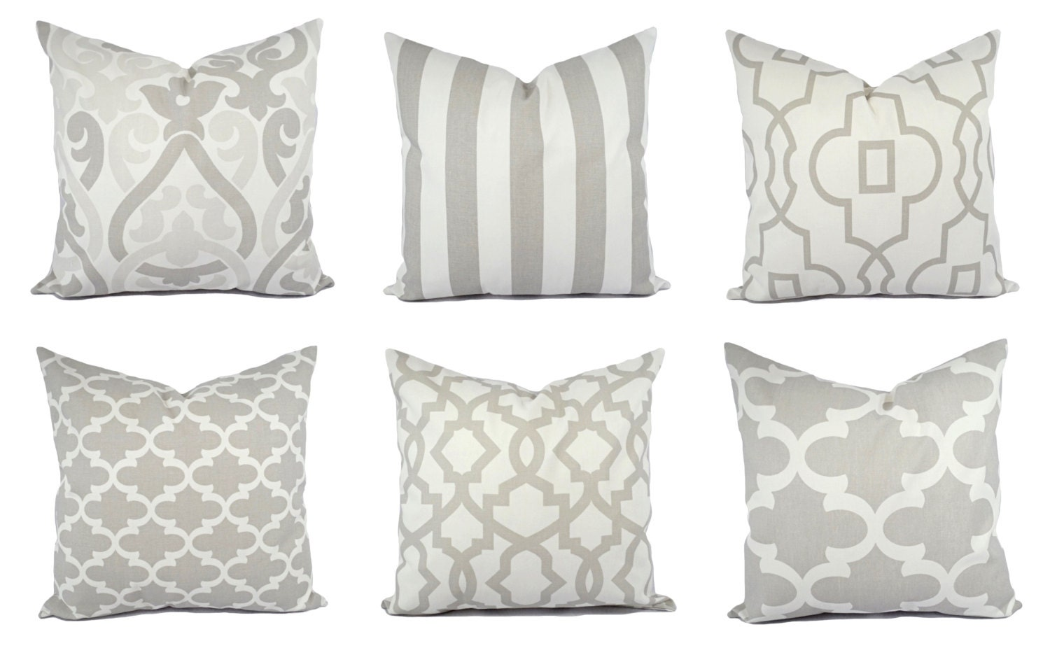 Grey and White Pillow Covers Grey Pillow Sham Grey Throw