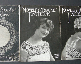 Vintage Crochet Cluny Laces Books 1916 Novelty Crochet Patterns Books 5 and 7