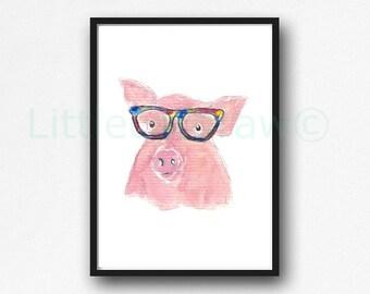 Geek Pig Print Cool Nerd Wearing Colorful Glasses Pig Geek Print Watercolor Painting Unframed Animal Art Print