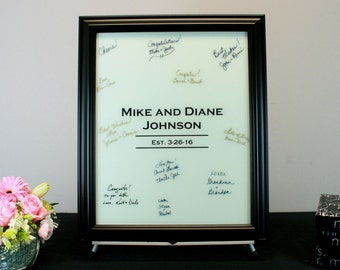 White Painted Wedding Signature Frame - Painted Glass