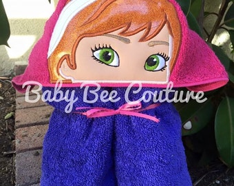 Anna Hooded Towel - Anna Frozen Disney Princess full sized hooded bath towel