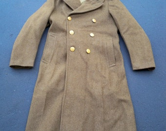 Vintage WWII 2 WW2 Era US Army Men's Enlisted Overcoat Coat Uniform Size 38 R Made in USA