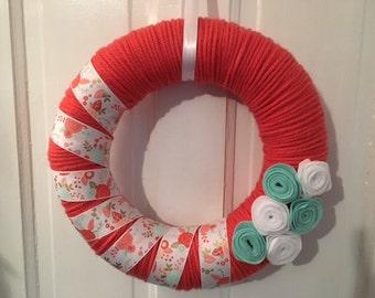Coral & Aqua Yarn Wreath